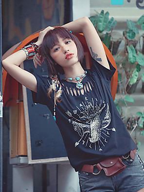 Mulheres Camiseta Casual Simples Verão,Patchwork Preto Algodão Decote Redondo Manga Curta Fina