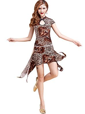 Dança do Ventre Vestidos Mulheres Treino Fibra de Leite Padrão/Estampado / Leopardo 2 Peças Manga Curta Natural Vestidos / Shorts