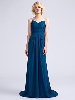 Lanting Bride® שובל סוויפ \ בראש שיפון / תחרה שמלה לשושבינה - מעטפת \ עמוד רצועות ספגטי עם תד נשפך / תחרה / סלסולים