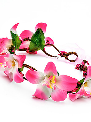 Women's Polyester / Fabric Headpiece-Wedding / Special Occasion / Outdoor Flowers Wreaths 1 Piece