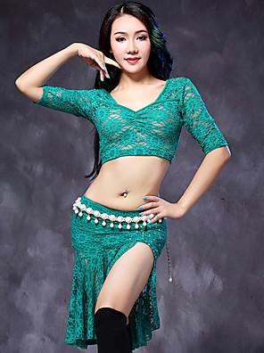ריקוד בטן תלבושות בגדי ריקוד נשים ביצועים תחרה תחרה 2 חלקים חצי שרוול טבעי עליון / חצאיתSuitable Weight M:45-57.5Kg/L:57.5-67.5Kg,Height