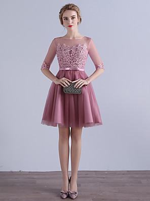 באורך  הברך טול שמלה לשושבינה  גזרת A עם תכשיטים עם אפליקציות / פפיון(ים)