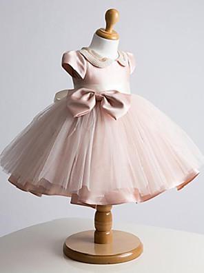 De Baile Curto / Mini Vestido para Meninas das Flores - Tule Manga Curta Decorado com Bijuteria com Laço(s) / Detalhes em Pérolas