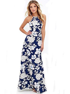 קיץ כותנה כחול ללא שרוולים מקסי כתפיה פרחוני בוהו חוף שמלה נדן נשים