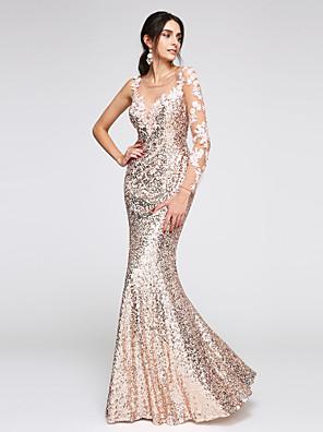 2017 TS couture® שמלת ערב רשמית חצוצרה / בת הים סקופ באורך הרצפה פאייטים עם אפליקציות / פאייטים