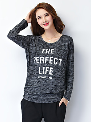 Women's Plus Size/Casual/Daily Simple Regular Pullover,Letter Black Round Neck Long Sleeve Cotton/Polyester Fall Medium
