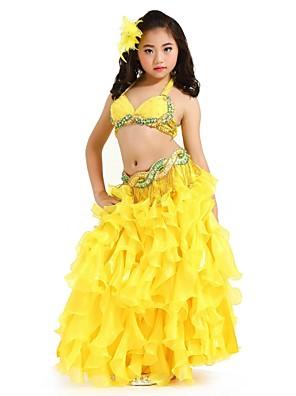 Dança do Ventre Roupa Crianças Actuação Chifon Paetês 3 Peças Sem Mangas Caído Saia / Top / Cinto Top Length :34cm   Skirt Length:75cm