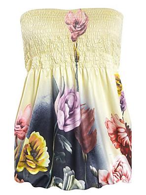 פרחוני סטרפלס סקסי / פשוטה יום יומי\קז'ואל חולצה נשים,קיץ ללא שרוולים צהוב דק פוליאסטר