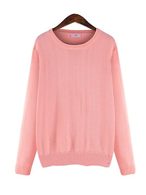 Women's Casual/Daily Simple Regular Pullover,Solid Blue / Pink / Gray Round Neck Long Sleeve Polyester Fall Medium