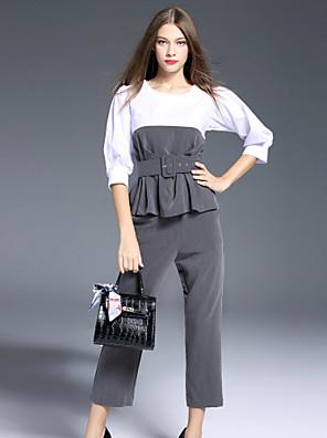 Dames Vintage Lente Set Pantalon Suits,Nette schoenen Kleurenblok Ronde hals Driekwart mouw Grijs Polyester Ondoorzichtig