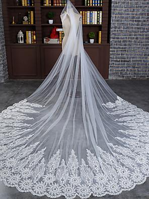 הינומות חתונה שכבה אחת צעיפי קתדרלה אפליקצית קצה תחרה טול שנהב