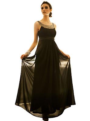 Women's Party/Cocktail Sexy / Vintage Dress Midi Sleeveless Black / Brown Polyester All Seasons