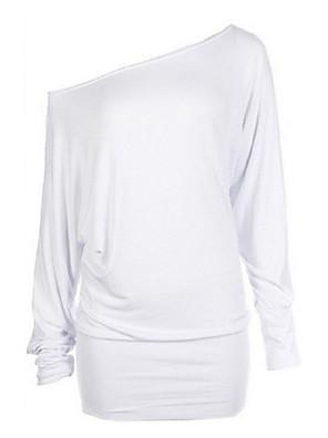 Mulheres Camiseta Casual Simples Outono,Sólido Azul / Branco / Cinza Algodão Assimétrico Manga Longa Opaca / Fina