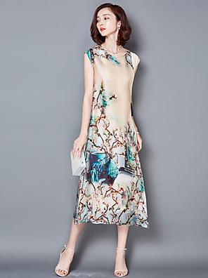קיץ פוליאסטר בז' ללא שרוולים מידי צווארון עגול דפוס מתוחכם מידות גדולות שמלה נדן נשים,גיזרה בינונית (אמצע) קשיח