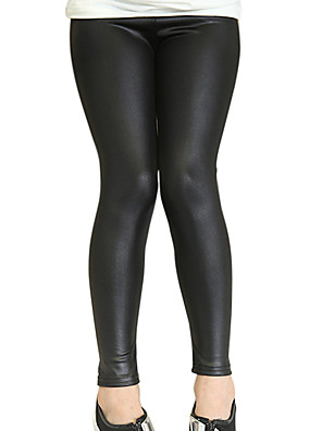 Girl's Cotton Spring/Autumn PU Fashion  Solid Color Leather Leggings Pants