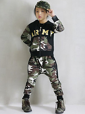 Girl's Cotton Spring/Autumn Fashion Camouflage Hip-hop Costume Hoodie Coat And Hallen Pants Sport Suit Two-piece Set