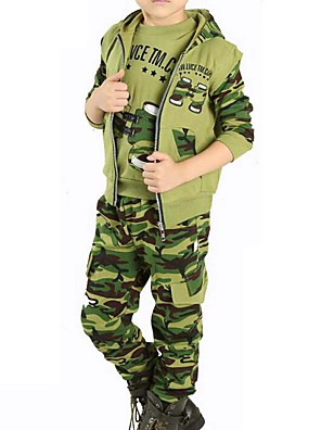 Boy's Casual/Daily Print Clothing Set,Cotton Spring / Fall Brown / Green