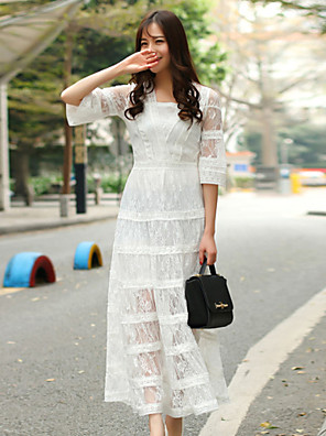 glitter vrouwen uitgaan leuke losse dresssolid v hals maxi koker witte katoen / polyester lente