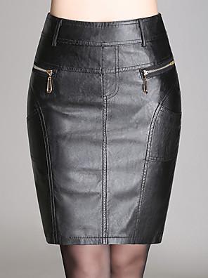 Dámské Sexy / Jednoduché Nad kolena Umělá kůže Lehce elastické Sukně