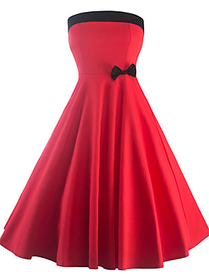 Women's Going out / Party/Cocktail Vintage Sheath Dress,Color Block Strapless Sleeveless Summer