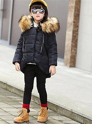 Girl's Casual/Daily Solid Down & Cotton Padded,Polyester Winter Black / Purple / Red