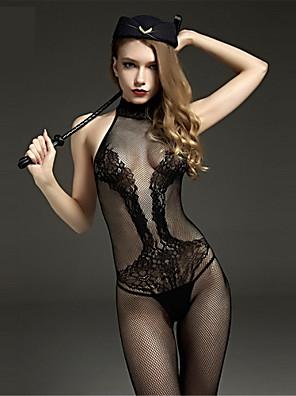 Ženy Prádlo s podvazky / Ultra sexy / Košilka na ramínka Noční prádlo Tisk Žakár-Nylon tenké Černá Dámské