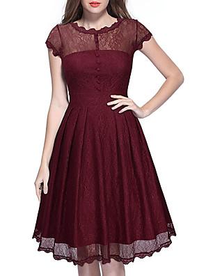 Dámské Vintage Běžné/Denní / Společenské Pouzdro Šaty Jednobarevné,Krátký rukáv Kulatý Délka ke kolenům Červená / Černá Bavlna / Polyester