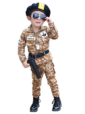 Boy's Cotton Spring/Autumn Fashion Patchwork Camouflage Army Long Sleeve Coat And Pants Two-piece Set