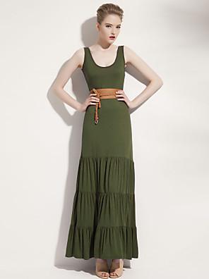 JOANNE KITTEN Women's Beach Loose Dress,Solid Midi Sleeveless Blue / Red / Green / Orange Spandex All Seasons