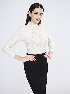 Women's Casual/Daily Simple Spring Blouse,Solid Stand Long Sleeve Beige Cotton / Spandex Opaque