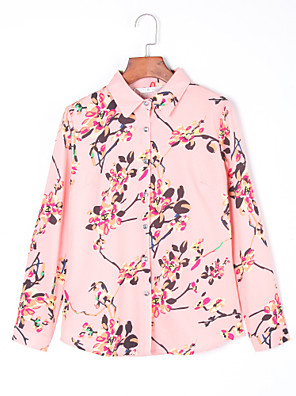 Women's Fashion OL Floral Long Sleeve Chiffon Shirt