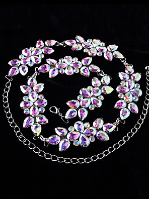 בגדי ריקוד נשים-חגורה-ביצוע(כסף,מתכת,קריסטלים / rhinestones / פרח (ים))