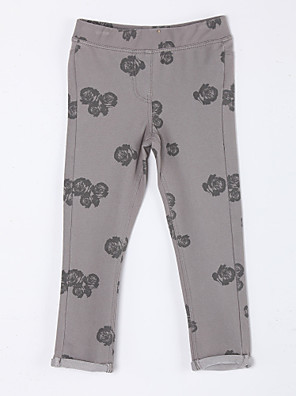 Girl's Casual/Daily Floral PantsCotton Fall Brown