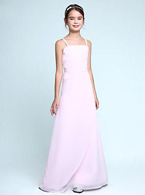 Lanting Bride® Na zem Šifón Šaty pro malou družičku Pouzdrové Špagetová ramínka Přirozený s Volánky / Boční řasení