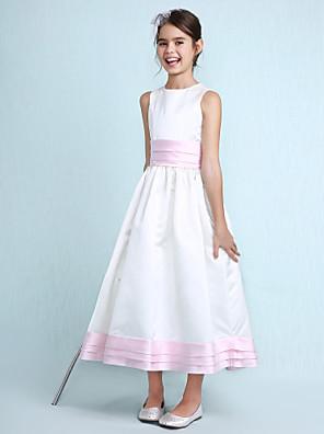Lanting Bride® Ke kolenům Satén Šaty pro malou družičku A-Linie / Princess Klenot Přirozený s Volánky / Šerpa / Stuha / Sklady