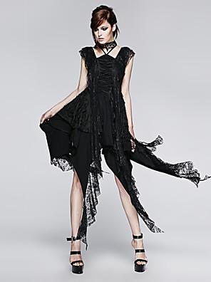 PUNK RAVE  Q-248 Women's Vintage/Sexy Micro-elastic Sleeveless Asymmetrical Dress (Spandex)