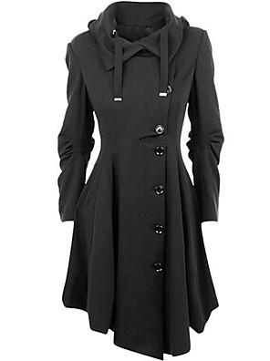 Mulheres Casaco Casual Simples / Moda de Rua Inverno,Sólido Preto Algodão Colarinho de Camisa-Manga Longa Média