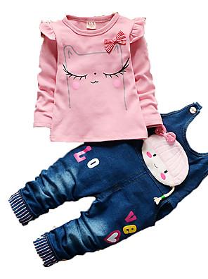 סט של בגדים יום יומי\קז'ואל דפוס כותנה סתיו ורוד / לבן הילדה של