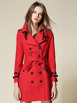 Vrouwen Eenvoudig Winter Trenchcoat,Werk Puntige revers-Lange mouw Rood Effen Medium Katoen