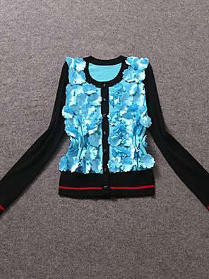 Dame Simpel Casual/hverdag Normal Cardigan Patchwork,Blå / Gul V-hals Langærmet Polyester Efterår Medium Uelastisk