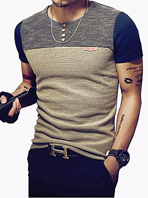 Men's Fashion Patchwork O Neck Slim Fit Short Sleeve T-Shirt Casual/Plus Size