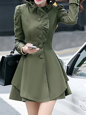Women's Plus Size Vintage Trench Coat,Solid Long Sleeve Winter Pink / Green / Yellow Others Thick