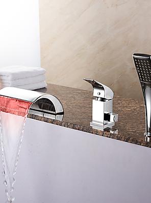 Modern Romeins bad LED / Waterval / Inclusief handdouche with  Keramische ventiel Single Handle drie gaten for  Chroom , Badkraan