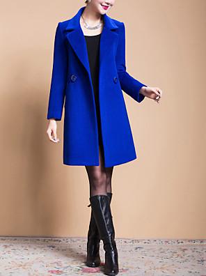 Mulheres Casaco Plus Sizes Outono,Sólido Azul / Preto / Amarelo Lã Lapela Pontuda-Manga Longa Grossa
