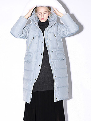nieuw voor stevige blauwe / zwarte omlaag coatsimple kap met lange mouwen vrouwen