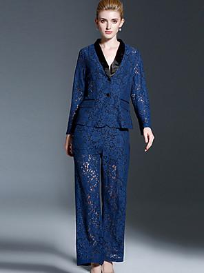 Langærmet Smoking revers Solid / Medium Dame Blå Ensfarvet Forår Vintage Formelle Sæt Bukse Suits,Bomuld / Polyester / Nylon / Spandex