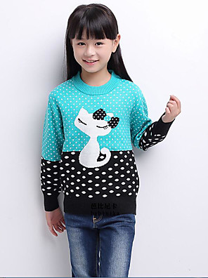 Girl's Casual/Daily Animal Print Sweater & CardiganCotton Winter / Fall Blue / Pink