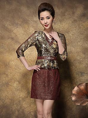 Feminino Bainha Vestido,Happy-Hour / Tamanhos Grandes Sofisticado Color Block / Jacquard Decote V Acima do Joelho Manga ¾ Dourado