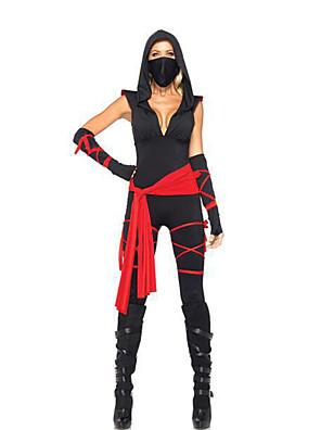 Zentai kombinézy Voják/Bojovník / Filmové a TV kostýmy Festival/Svátek Halloweenské kostýmy Černá Patchwork Šaty / Náušnice Halloween
