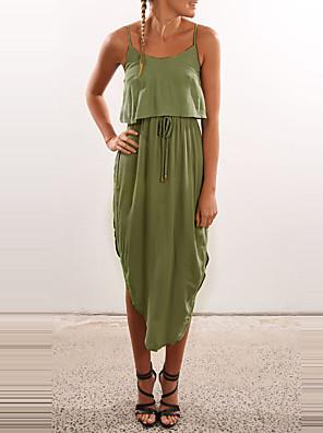 Feminino Bainha Vestido,Casual Sensual / Simples Sólido Com Alças Médio Sem Manga Azul / Bege / Cinza / Verde Poliéster VerãoCintura
